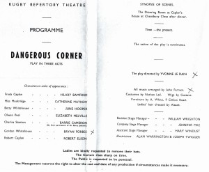 Rugby Repetory Theatre programme with appearance of Bryan Forbes